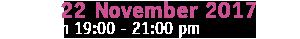 22 November, h 19:00/21:00 - Milan